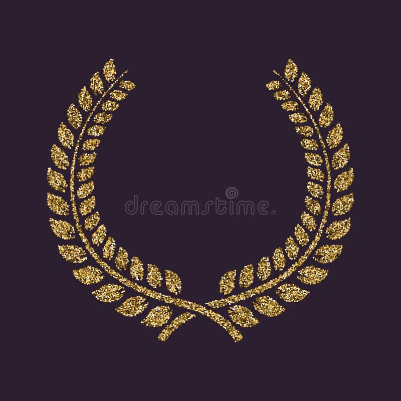 L'icône de guirlande de laurier Prix et récompense, symbole d'honneurs Étincelles et scintillement d'or illustration libre de droits