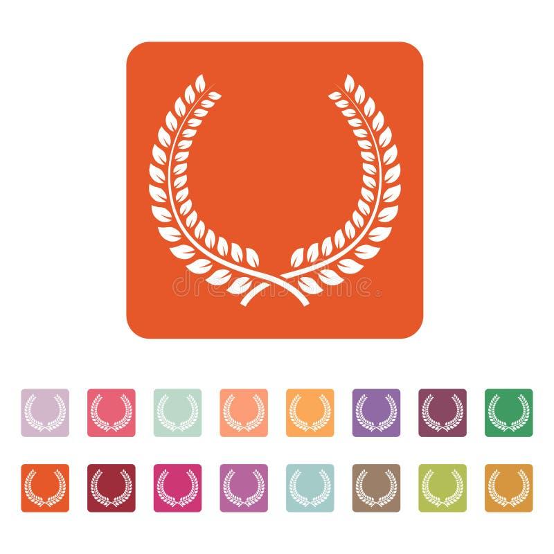 L'icône de guirlande de laurier Prix et récompense, symbole d'honneurs plat illustration libre de droits
