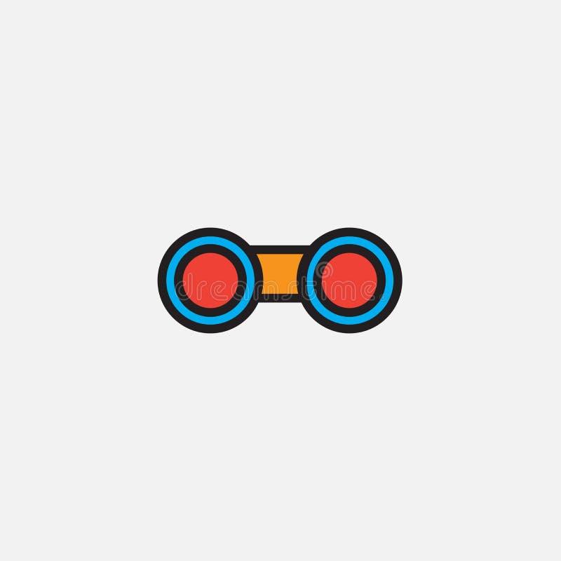 L'icône de jumelles, illustration de logo de vecteur d'ensemble, a rempli pictogramme linéaire de couleur d'isolement sur le blan illustration stock