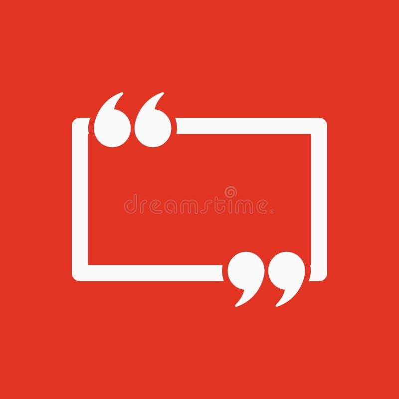 L'icône de Mark Speech Bubble de citation Citations, citation, symbole d'opinion illustration de vecteur