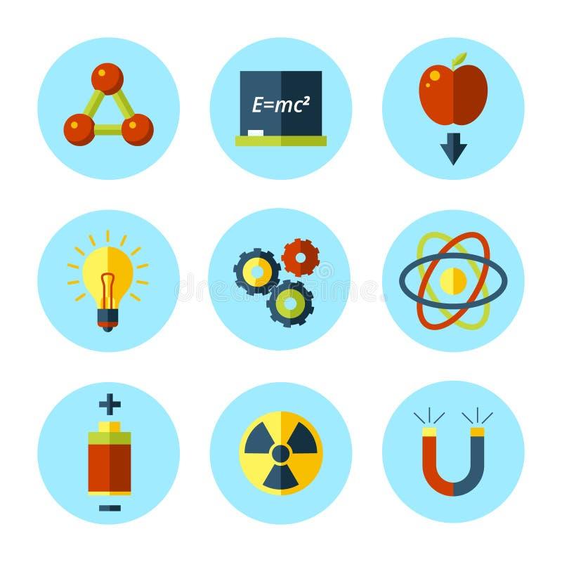 L'icône de physique de vecteur a placé dans le style plat moderne illustration stock