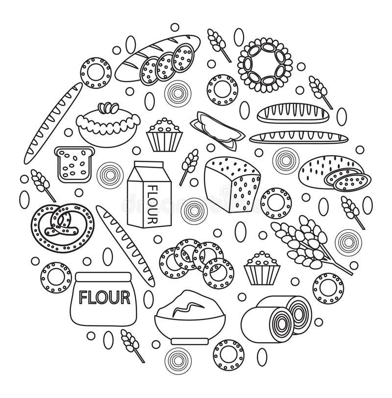 L'icône de produits de boulangerie a placé dans une forme ronde, ligne, contour, style de griffonnage du pain et de la pâtisserie illustration libre de droits