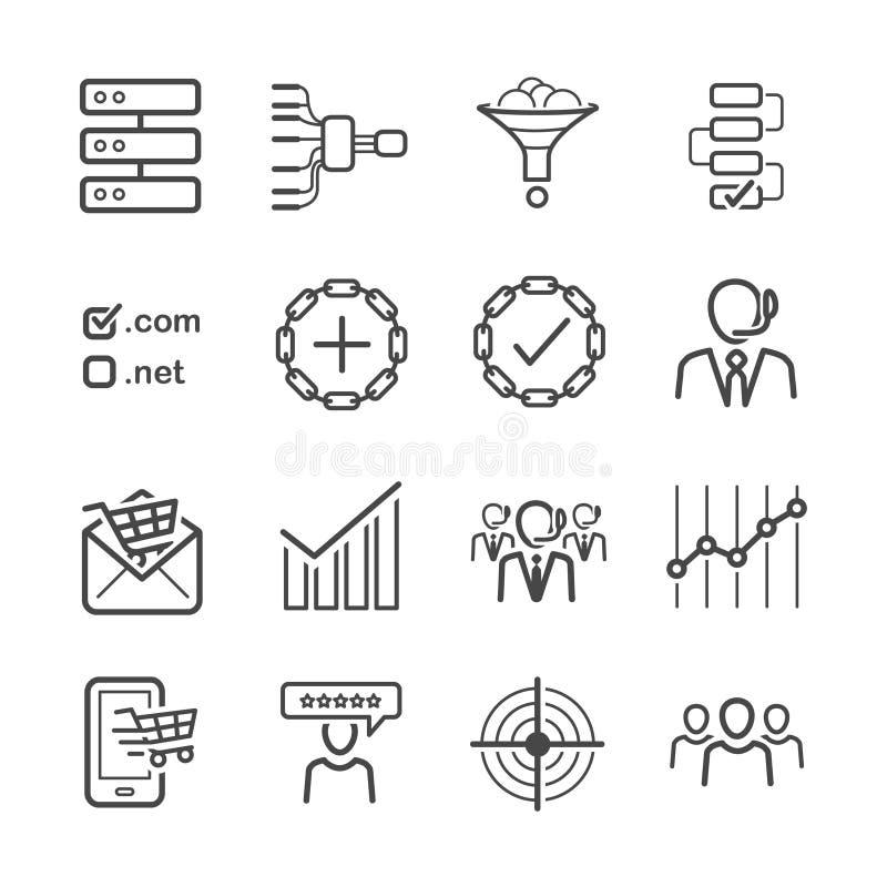 L'icône de SEO a placé 2 illustration de vecteur