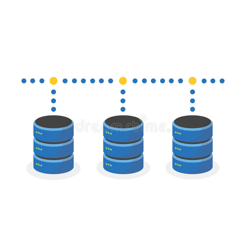 L'icône de stockage de données avec relient le stockage bas multi illustration libre de droits