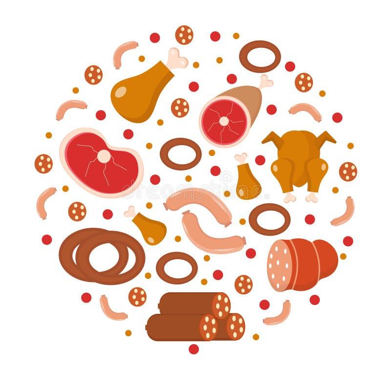 L'icône de viande et de saucisses a placé dans la forme ronde, plate, style de bande dessinée illustration libre de droits