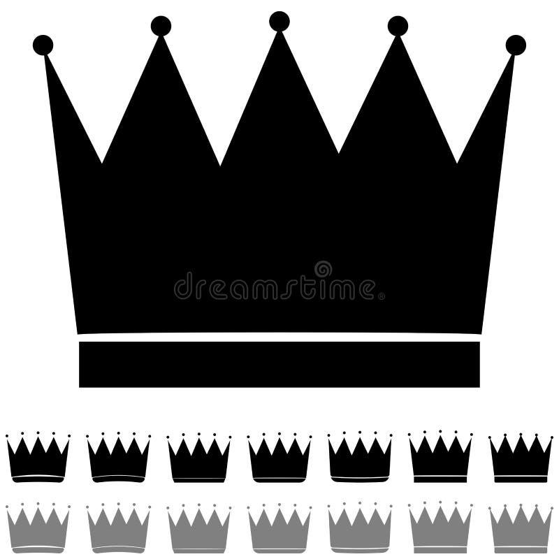 L'icône différente de formes de couronne noire et grise illustration de vecteur