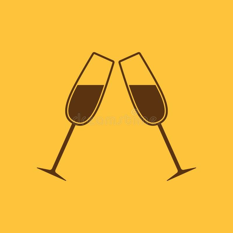 L'icône en verre de tintement Verre à vin et gobelet, symbole de célébration plat illustration libre de droits