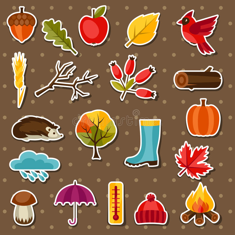 L'icône et les objets d'autocollant d'automne ont placé pour la conception illustration stock