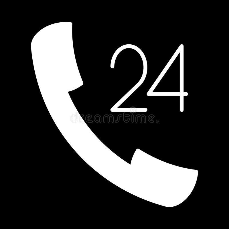 Download L'icône A Fixé 24 Heures à La Main De Découpe Blanche Sur Le Fond Noir De L'illustration Illustration Stock - Illustration du illustration, moderne: 87708966