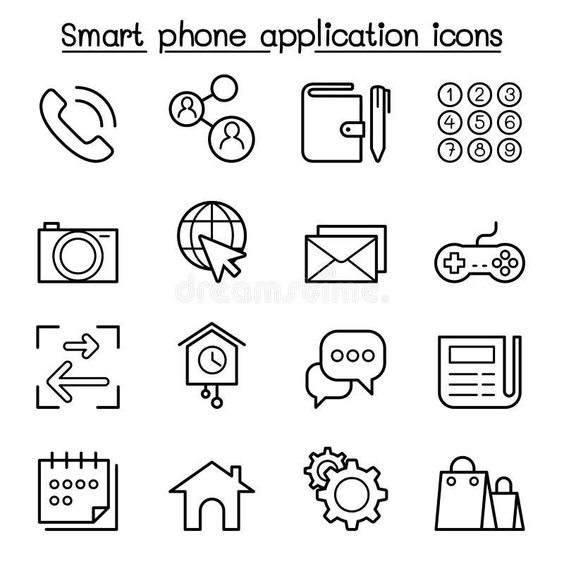 L'icône futée de base d'application de téléphone a placé dans la ligne style mince illustration de vecteur