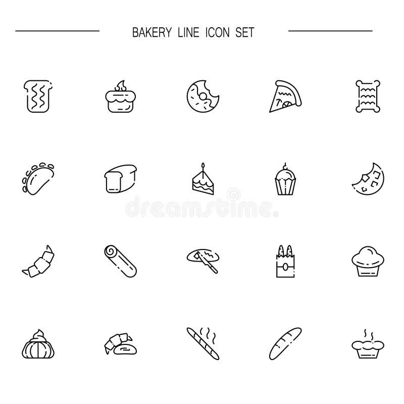 L'icône ou le logo plate de boulangerie a placé pour le web design illustration libre de droits