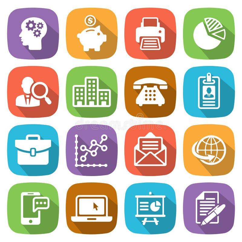 L'icône plate à la mode d'affaires et de finances a placé 1 vecteur illustration stock