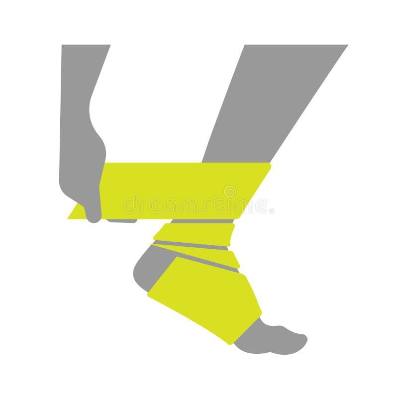 Download L'icône Plate A Blessé La Jambe Ou Le Pied Avec Le Bandage Illustration de Vecteur - Illustration du douleur, guérissez: 77155965