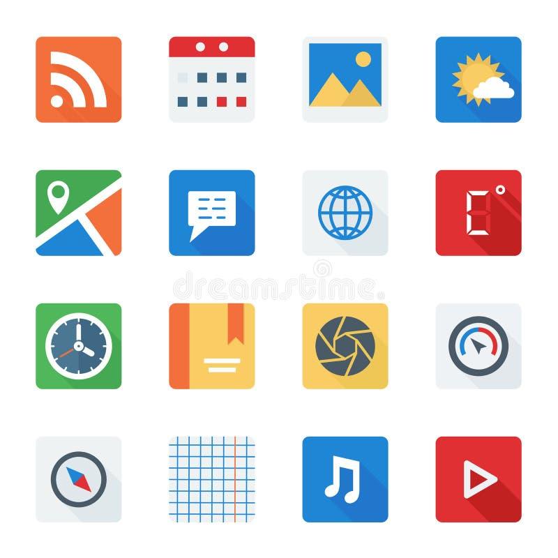 L'icône plate de base a placé pour le Web et l'application mobile illustration stock