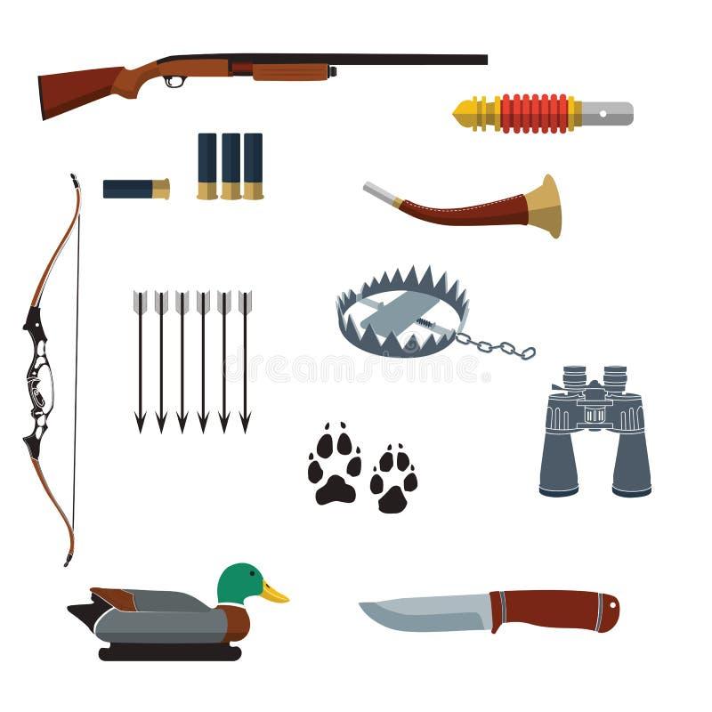 L'icône plate de chasse de conception a placé dans des couleurs d'ui Illustration de vecteur images libres de droits