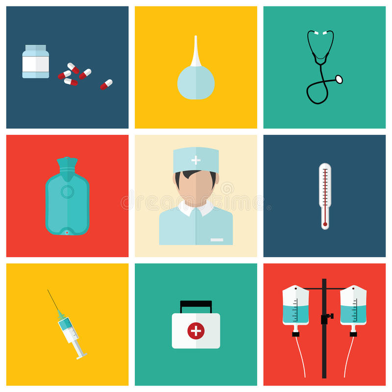 L'icône plate médicale a placé avec le docteur, conception de vecteur images stock