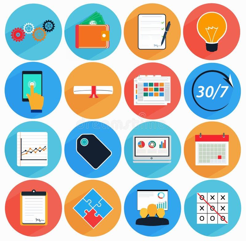 L'icône plate a placé avec la longue ombre dans le style des services financiers illustration stock