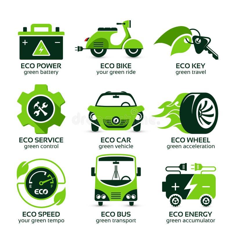 L'icône plate a placé pour le trafic urbain d'eco vert illustration stock