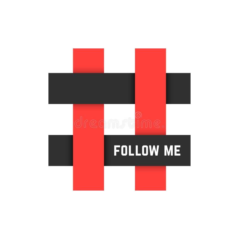 L'icône rouge et noire de hashtag avec me suivent texte illustration de vecteur