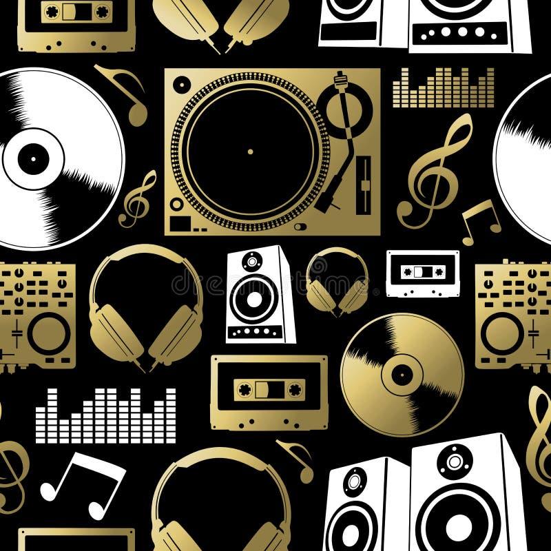 L'icône sans couture DJ de modèle de musique basculent l'ensemble de club de partie illustration libre de droits