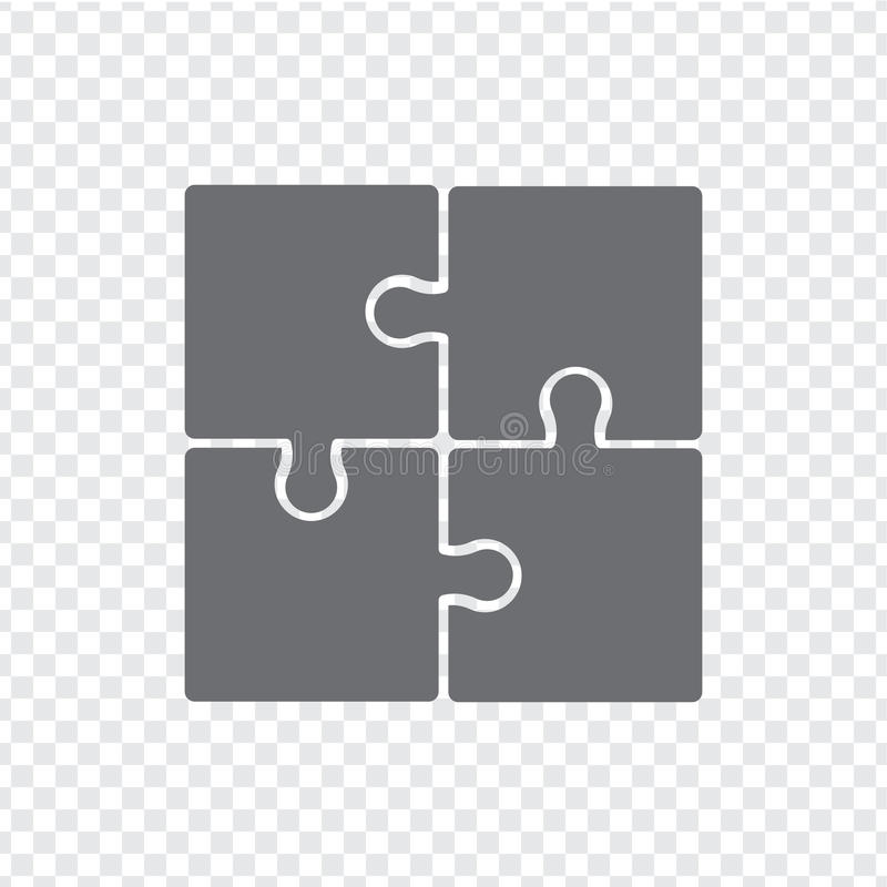L'icône simple déconcerte dans le gris sur un fond transparent Puzzle simple d'icône des quatre éléments illustration stock