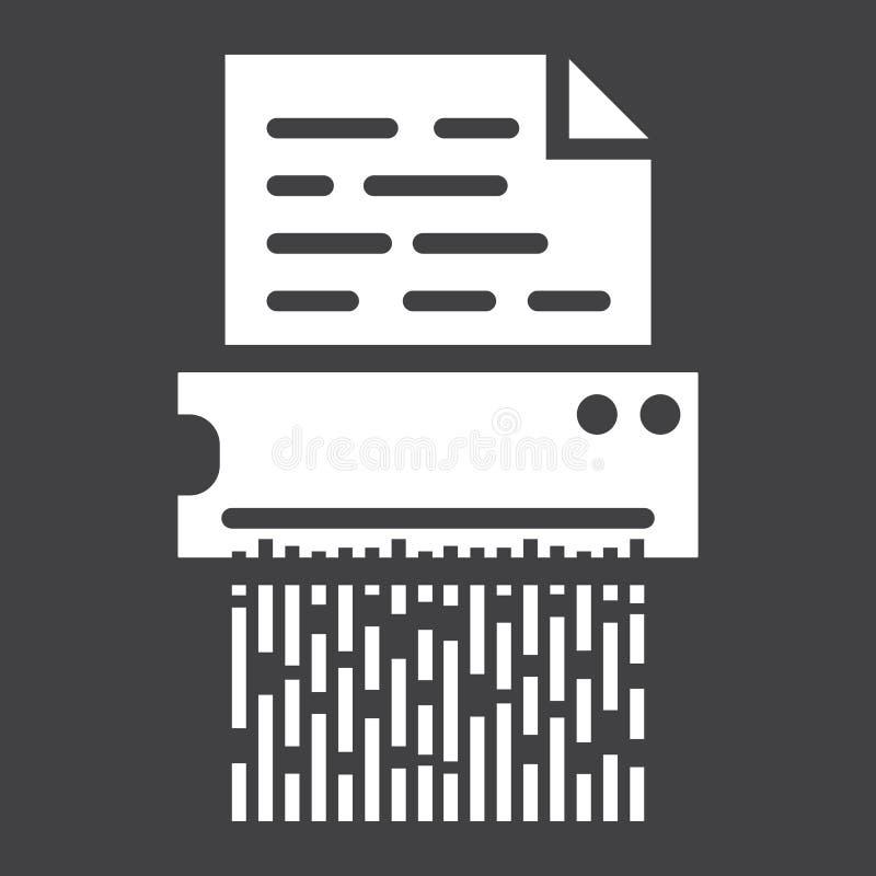 L'icône solide du destructeur de documents, détruisent le dossier illustration de vecteur