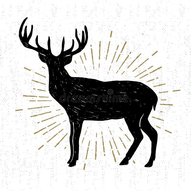 L'icône tirée par la main de vintage avec un cerf commun texturisé dirigent l'illustration illustration de vecteur