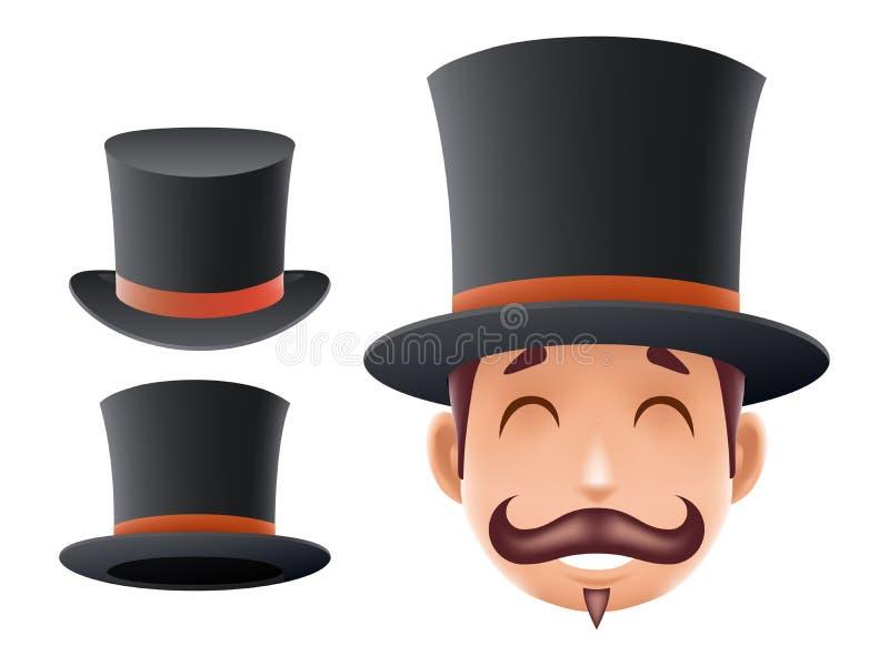 L'icône victorienne 3d anglais de chapeau de lanceur de bande dessinée d'affaires de monsieur a isolé la rétro conception de la G illustration stock