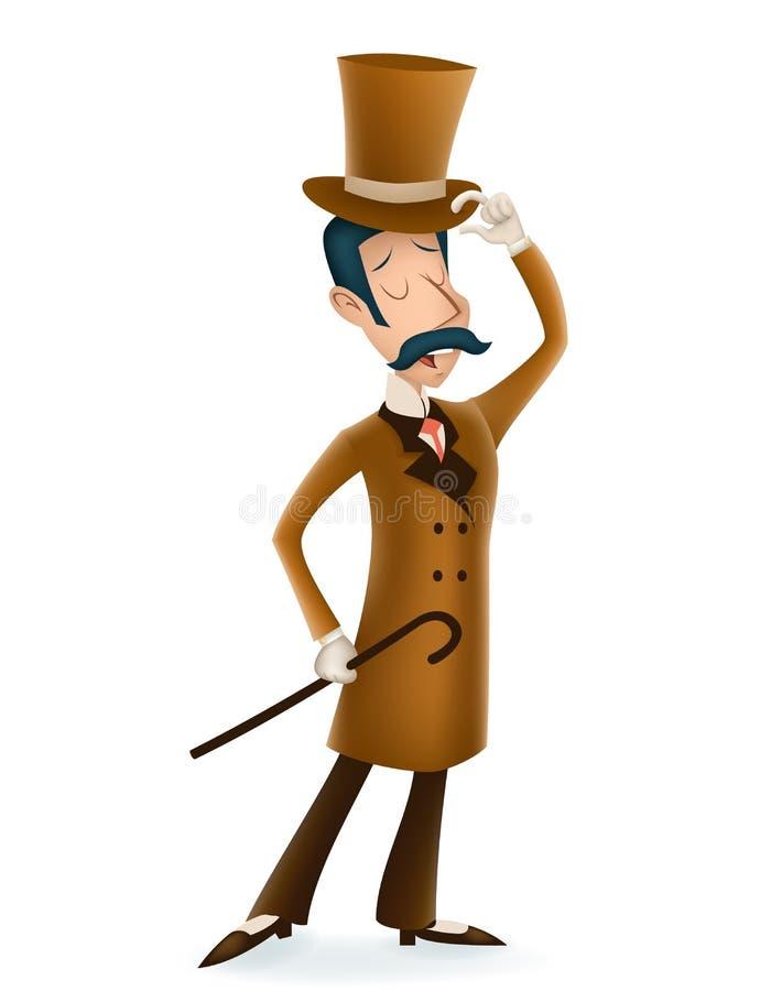 L'icône victorienne 3d anglais de personnage de dessin animé d'affaires de monsieur a isolé la rétro conception de la Grande-Bret illustration de vecteur