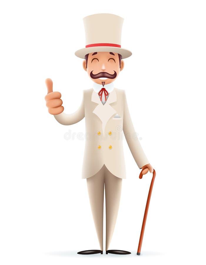 L'icône victorienne 3d anglais de personnage de dessin animé d'affaires de monsieur a isolé la rétro conception de la Grande-Bret illustration libre de droits