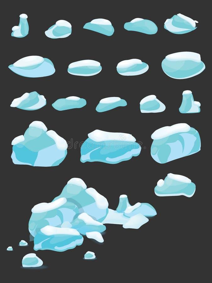 L'iceberg ha riguardato il grande fumetto dell'insieme della neve Ghiaccio ed iceberg nello stile piano isometrico 3d Insieme del illustrazione di stock