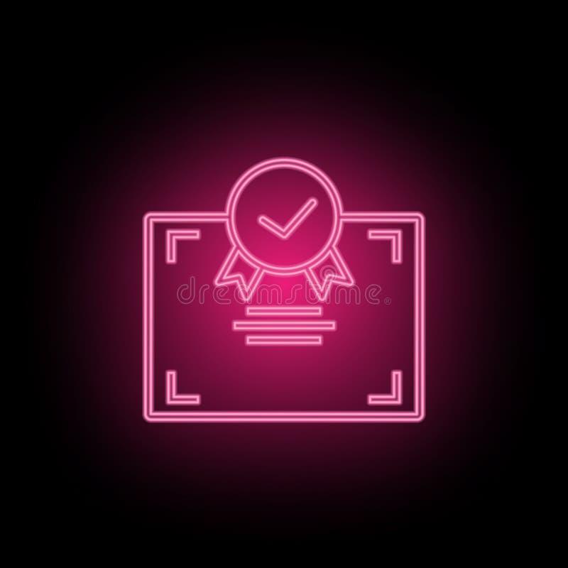 L'icona al neon del certificato può essere usata per illustrare gli argomenti circa l'ottimizzazione di SEO, l'analisi dei dati d illustrazione di stock