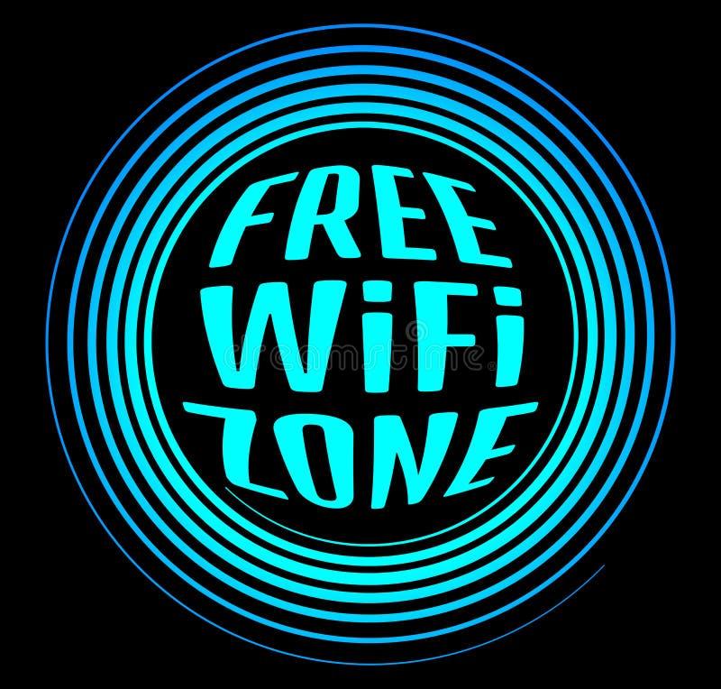 L'icona al neon di vettore rotondo ha identificato la zona libera dei Wi fi su un backgr nero illustrazione vettoriale