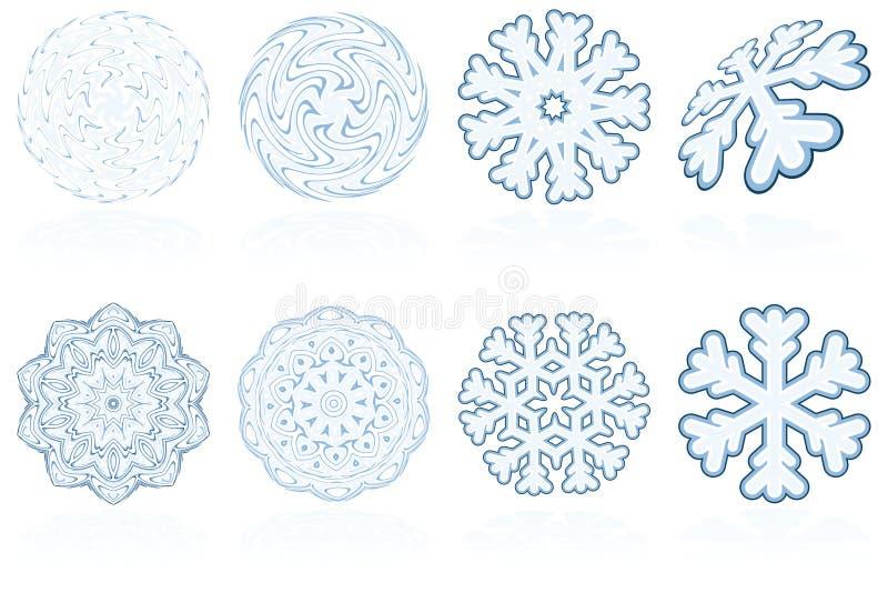 L'icona astratta del fiocco di neve di inverno di festa ha impostato in azzurro royalty illustrazione gratis