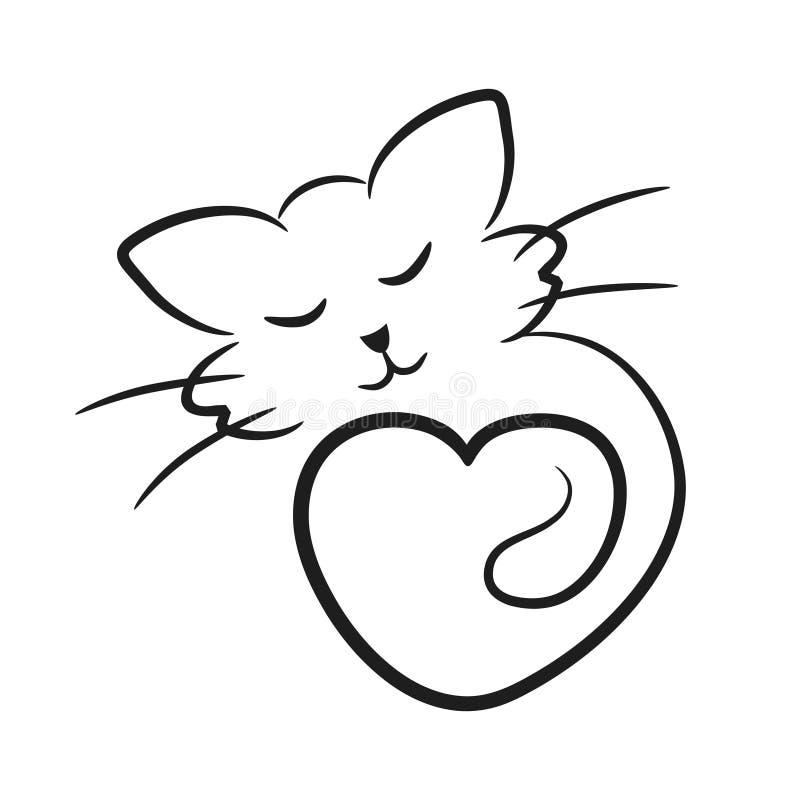 L'icona astratta del gatto con cuore gradisce il simbolo animale di amore, vect di riserva illustrazione di stock