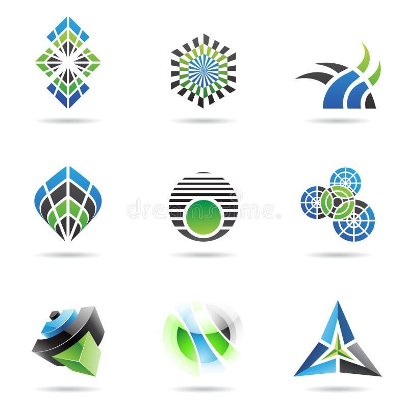 L'icona astratta di verde e del nero blu ha impostato 17 illustrazione vettoriale