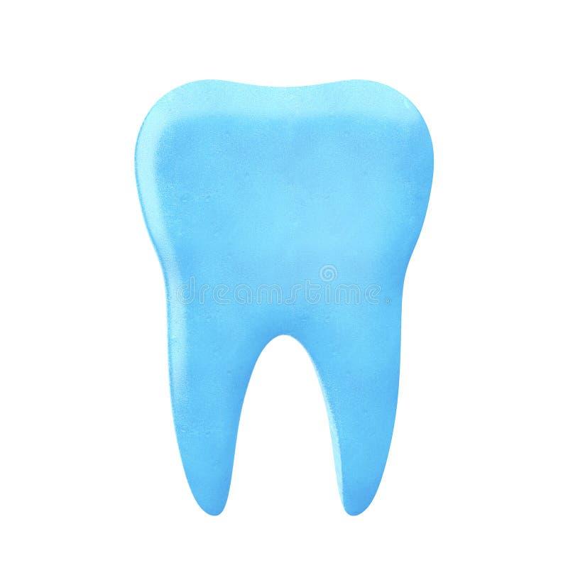 L'icona blu del dente proviene dal dentifricio in pasta rappresentazione 3d illustrazione di stock