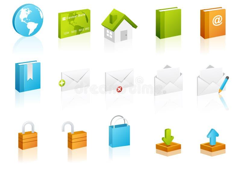 L'icona cubica ha impostato: Web site ed Internet illustrazione vettoriale