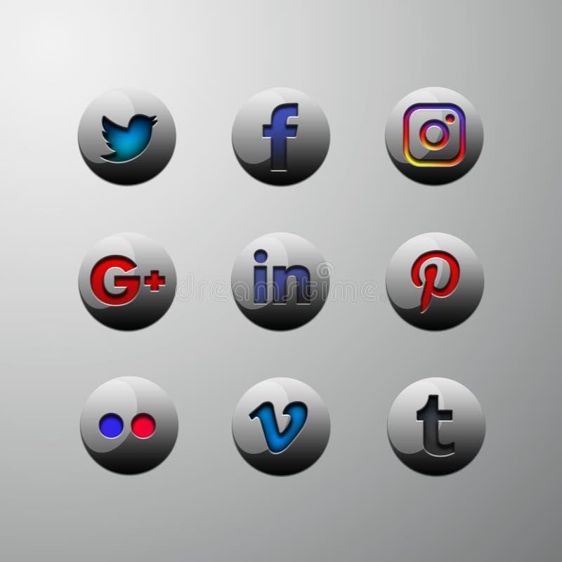 l'icona 3d abbottona i media sociali royalty illustrazione gratis