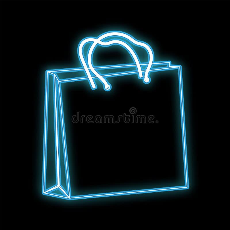 L'icona d'ardore luminosa blu al neon del bello estratto, un segno da un sacchetto della spesa di carta ha fatto e spazio della c illustrazione vettoriale