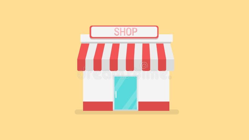 L'icona dei depositi e dei negozi nella progettazione piana disegna il vettore royalty illustrazione gratis