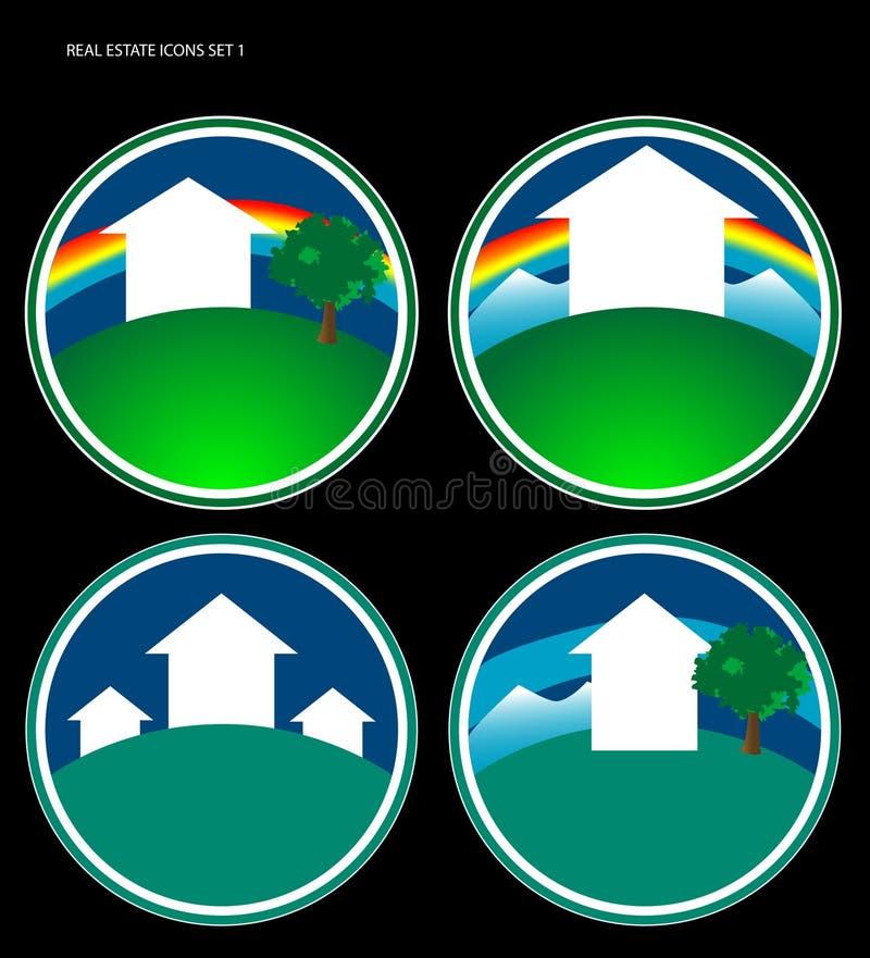 L'icona del bene immobile ha impostato 1 illustrazione di stock