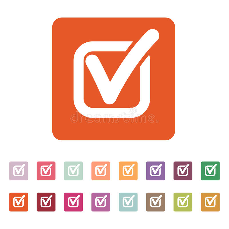 L'icona del controllo Segno convenzionale e casella di controllo, sì, simbolo di voto piano illustrazione di stock
