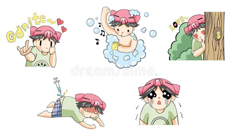 L'icona del fumetto del ragazzo di porcellino in varia azione ha messo 2 illustrazione vettoriale