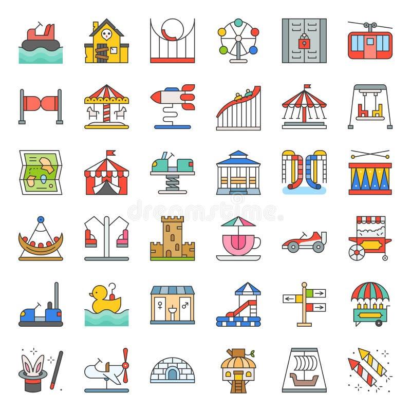 L'icona del parco di divertimenti ed il giro a gettoni, hanno riempito le icone del profilo royalty illustrazione gratis