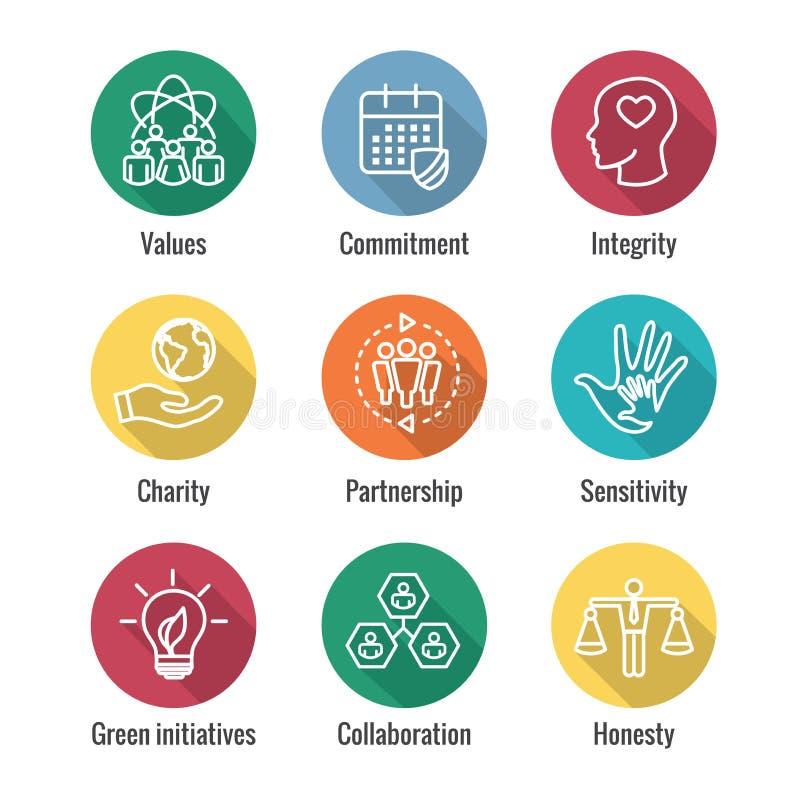 L'icona del profilo di responsabilità sociale ha messo con l'onestà, integrità, illustrazione di stock