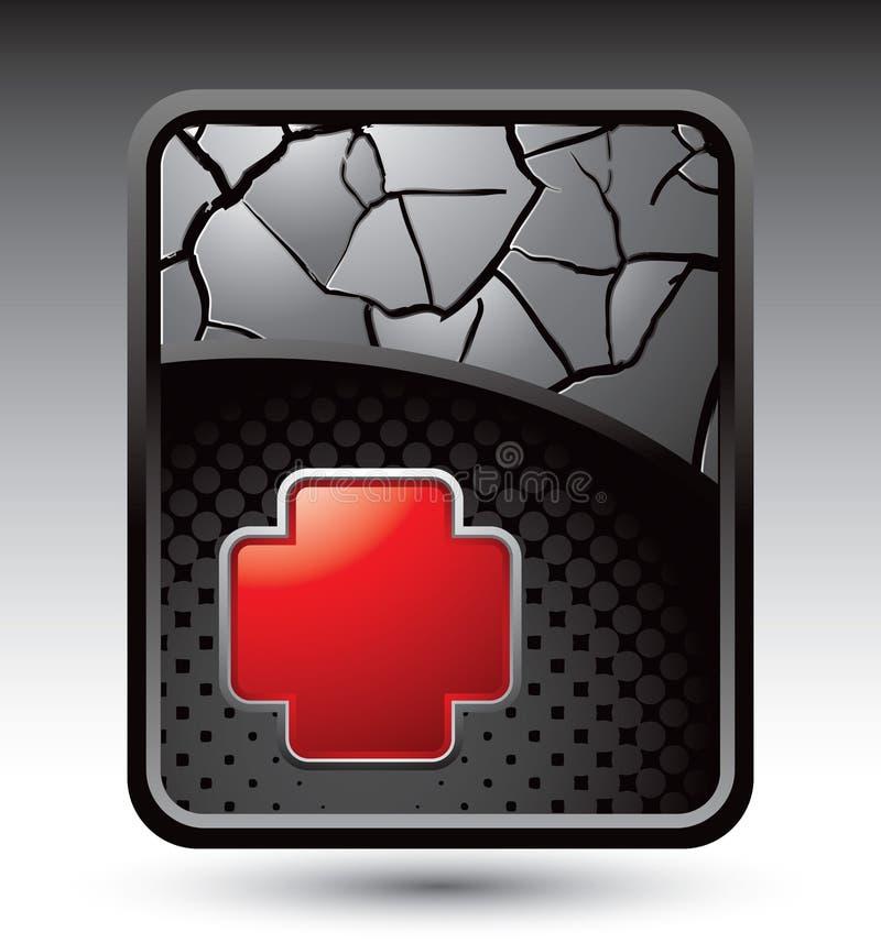 L'icona del pronto soccorso di colore rosso su argento ha fenduto il contesto illustrazione di stock