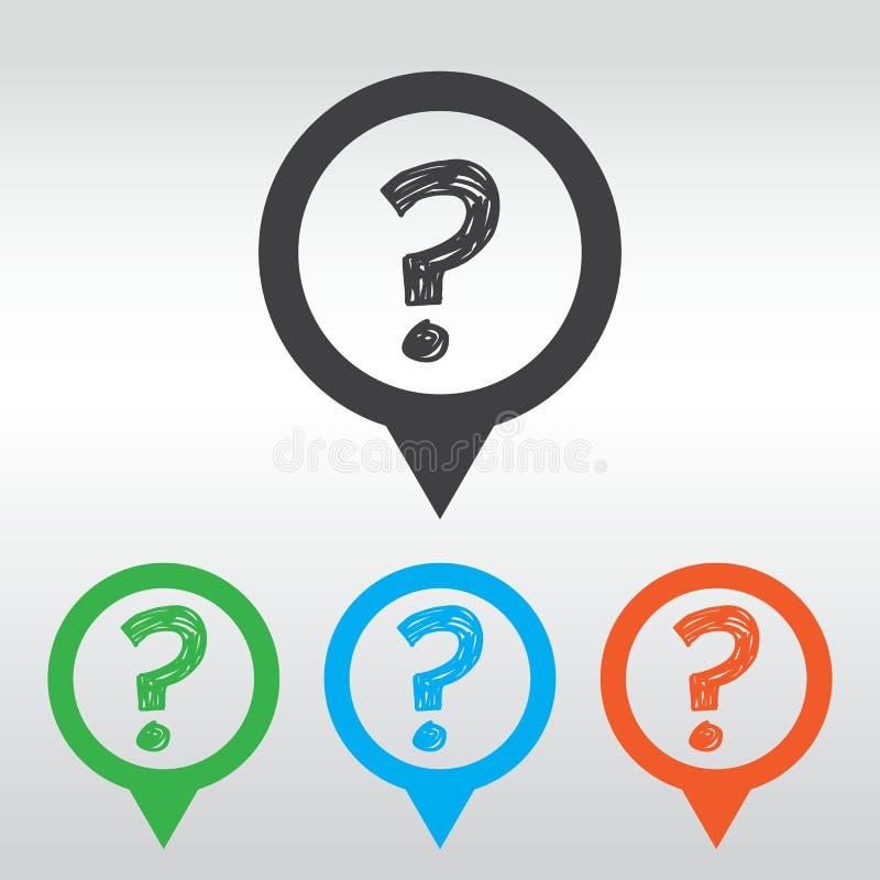 l'icona del punto interrogativo chiede il segno, perno della mappa dell'icona illustrazione vettoriale