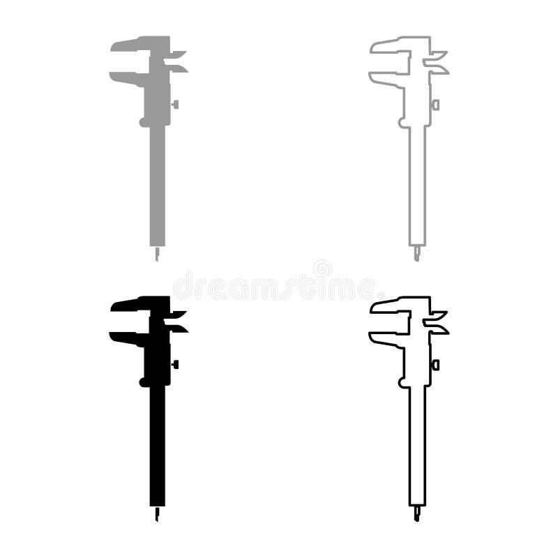L'icona del tramaglio del calibro di scorrevole del calibro di calibro del calibro a corsoio del calibro di scivolamento del cali royalty illustrazione gratis