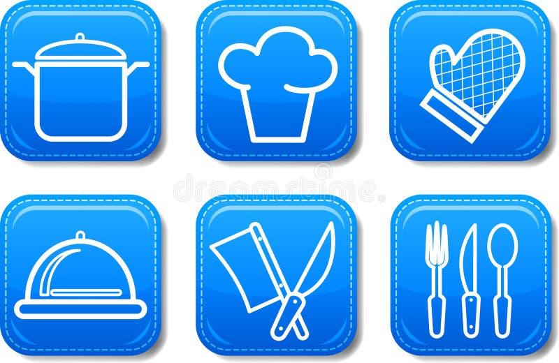 L'icona dell'alimento abbottona l'insieme lucido illustrazione vettoriale